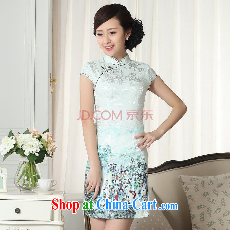 Uh, Ms. JOSEPH cheongsam Chinese dresses new summer elegance Chinese qipao Chinese graphics thin short cheongsam picture color XXL
