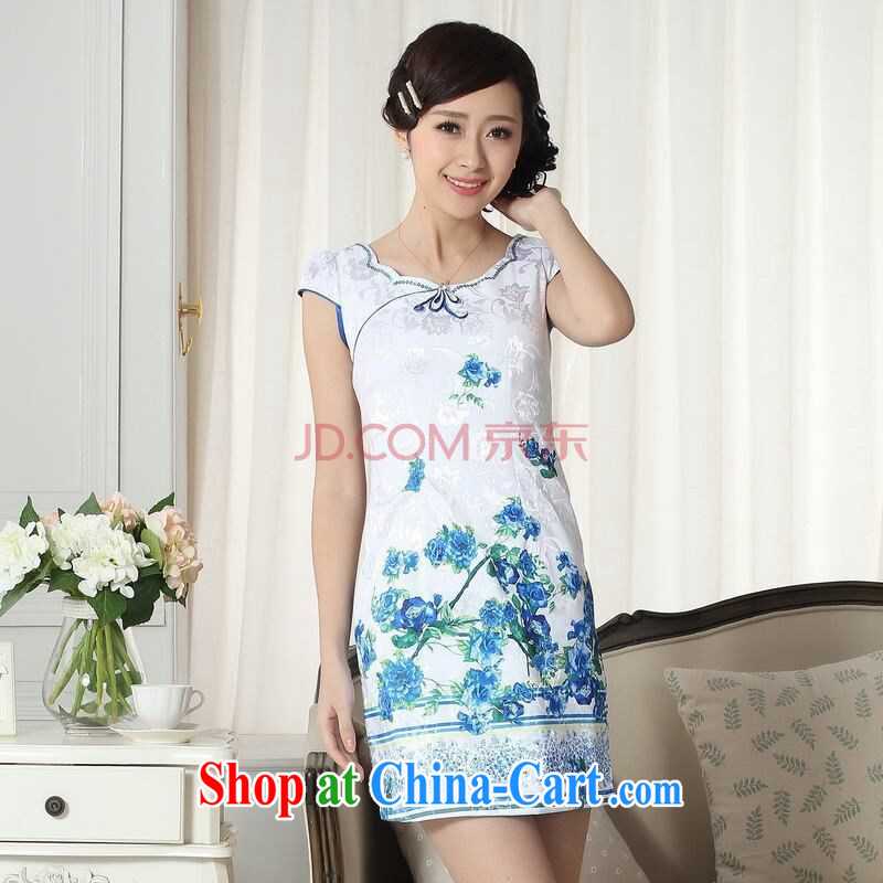Joseph cotton lady stylish jacquard cotton cultivation short cheongsam dress new improved cheongsam dress picture color L