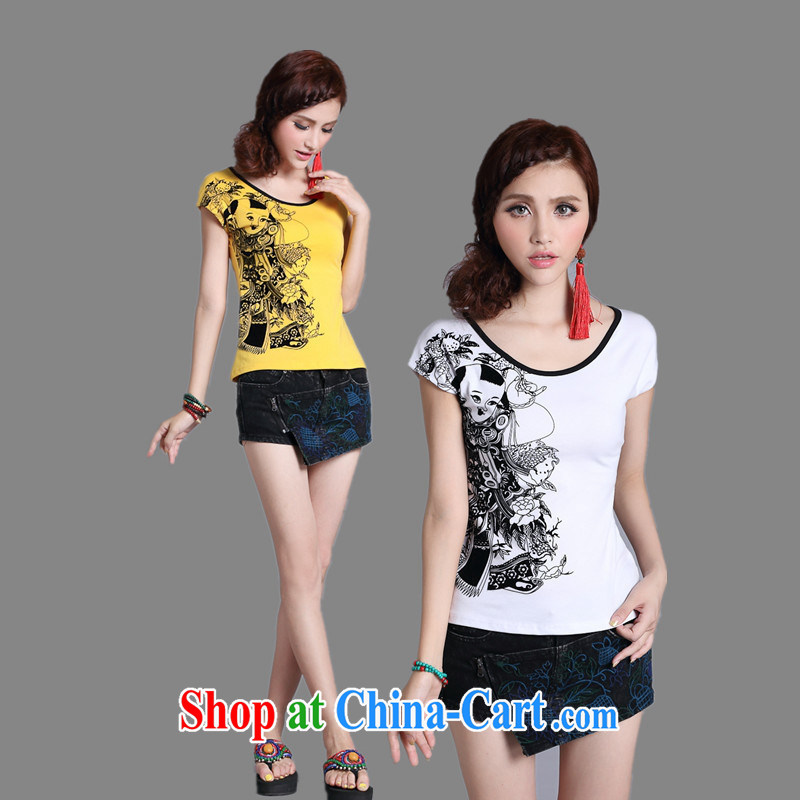Close deals with clothing * Womens Apparel wholesale hot selling good summer Ethnic Wind women flocking stamp out cultivating pure cotton short-sleeved T-shirt white XXL