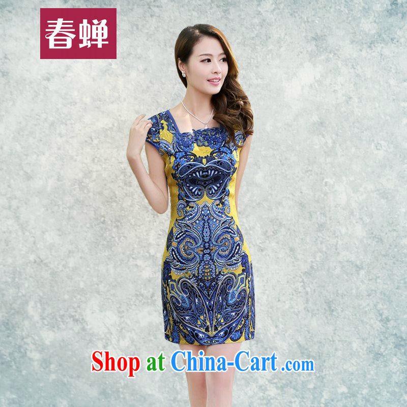 Silent Spring Summer 2015 women's clothing new dresses daily improvement and stylish party for Mrs female beauty antique dresses stamp duty cheongsam dress 8808 yellow XXL