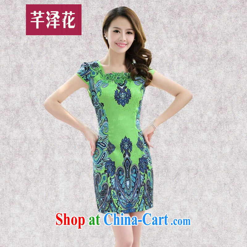Constitution, spent summer 2015 ladies' new daily improved lady beauty short skirt retro dresses stamp dress modestly cheongsam dress 8808 green XXL