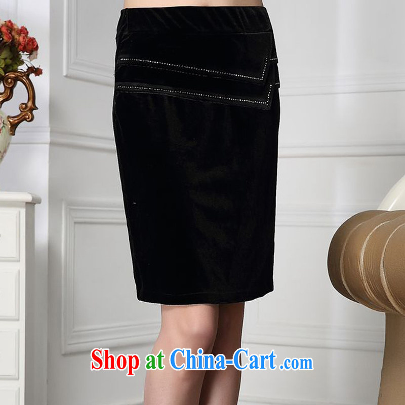 Forest narcissus Spring and Autumn 2015 the new trendy, cultivating comfortable velvet line water Drill Down body skirt HGL - 4612 black XXXXL