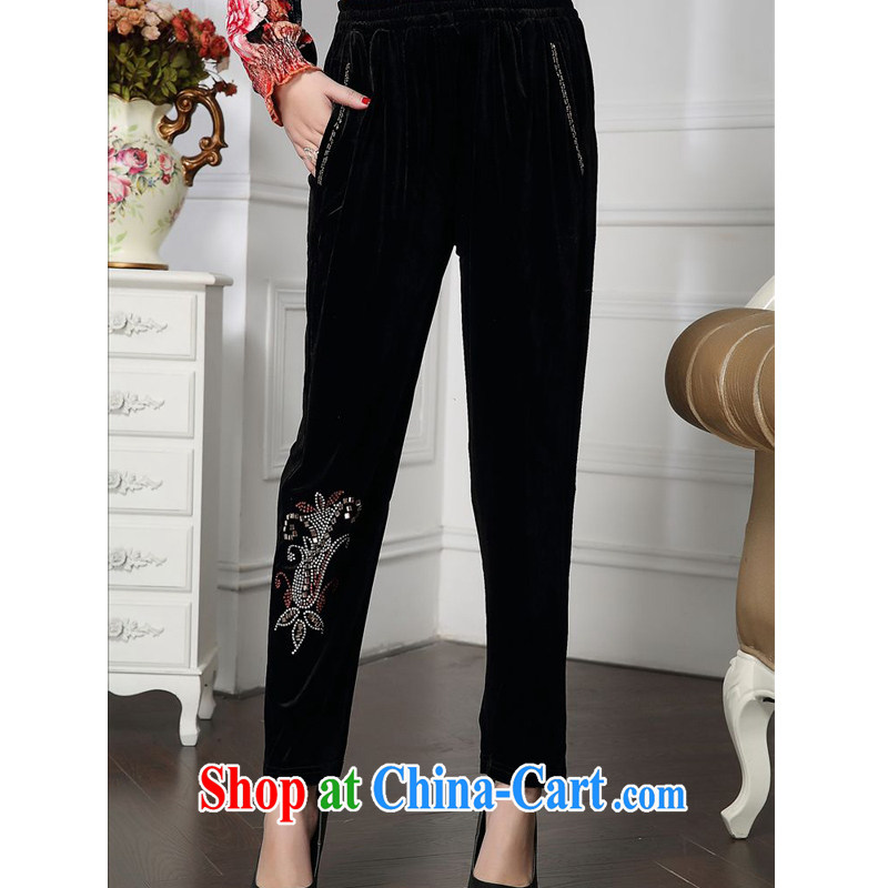 Forest narcissus 2015 spring loaded on new stylish and elegant mother is relaxed and comfortable velour inserts Drill Down pants HGL - 4611 black XXXL