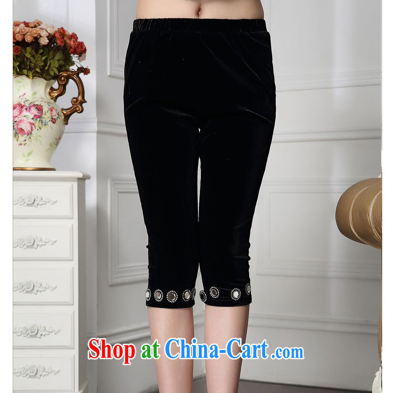 Forest narcissus 2015 spring loaded on new stylish beauty framed in drill 7 waist pants comfortable plush down pants HGL - 4610 black XXXXL