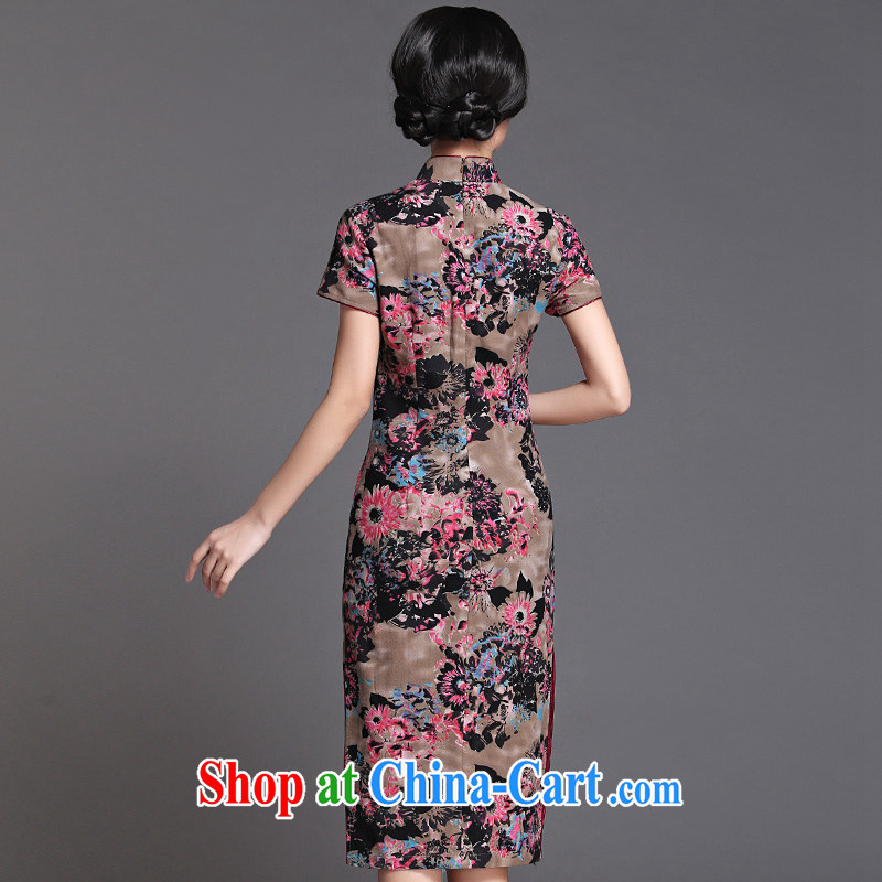China classic 2015 summer long, Chinese cheongsam dress improved retro style, Ms. Yau Ma Tei cotton cheongsam floral XXXL, China Classic (HUAZUJINGDIAN), shopping on the Internet