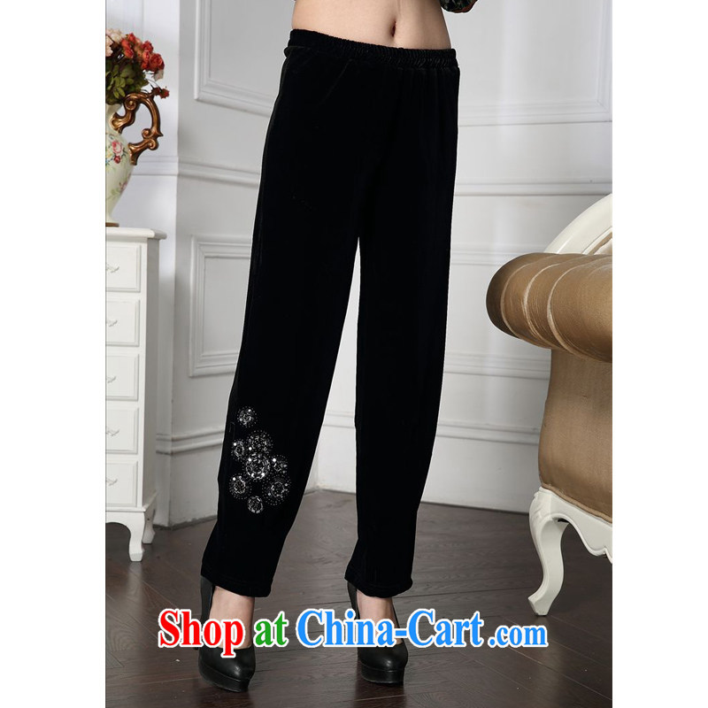 Forest narcissus 2015 spring loaded on new stylish wood drill beads, Elastic waist MOM pants comfortable plush down pants HGL - 4603 black L