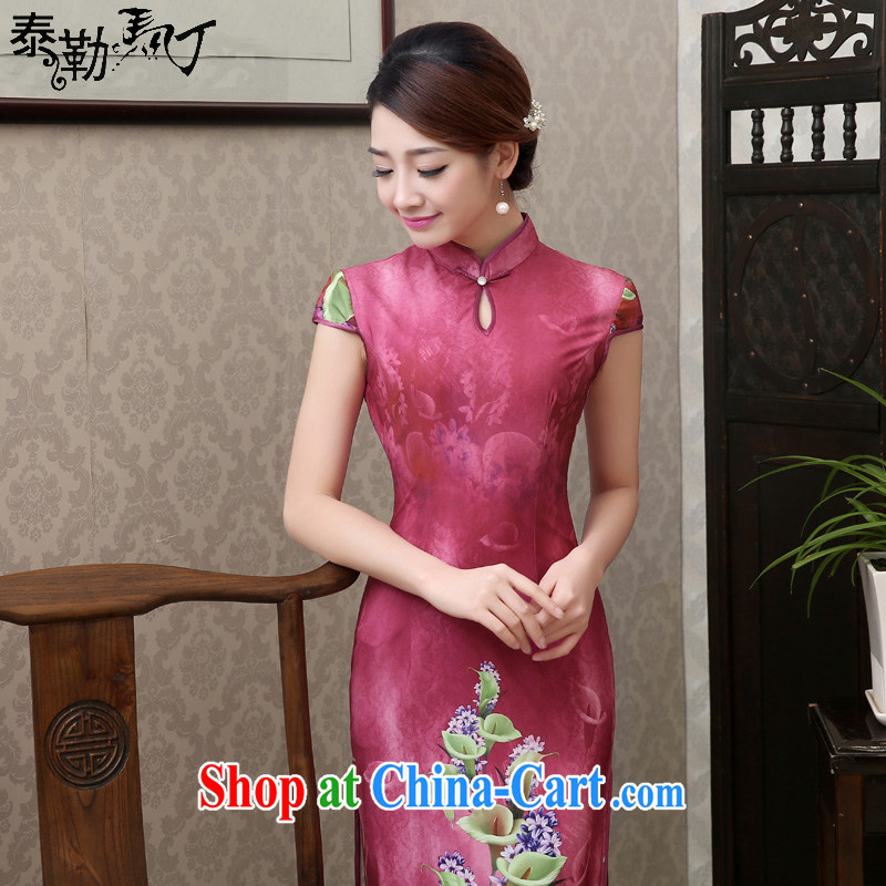 2015 new spring and summer long cheongsam dress short-sleeved retro improved cultivating the red cheongsam dress elegant banquet dress red XXL