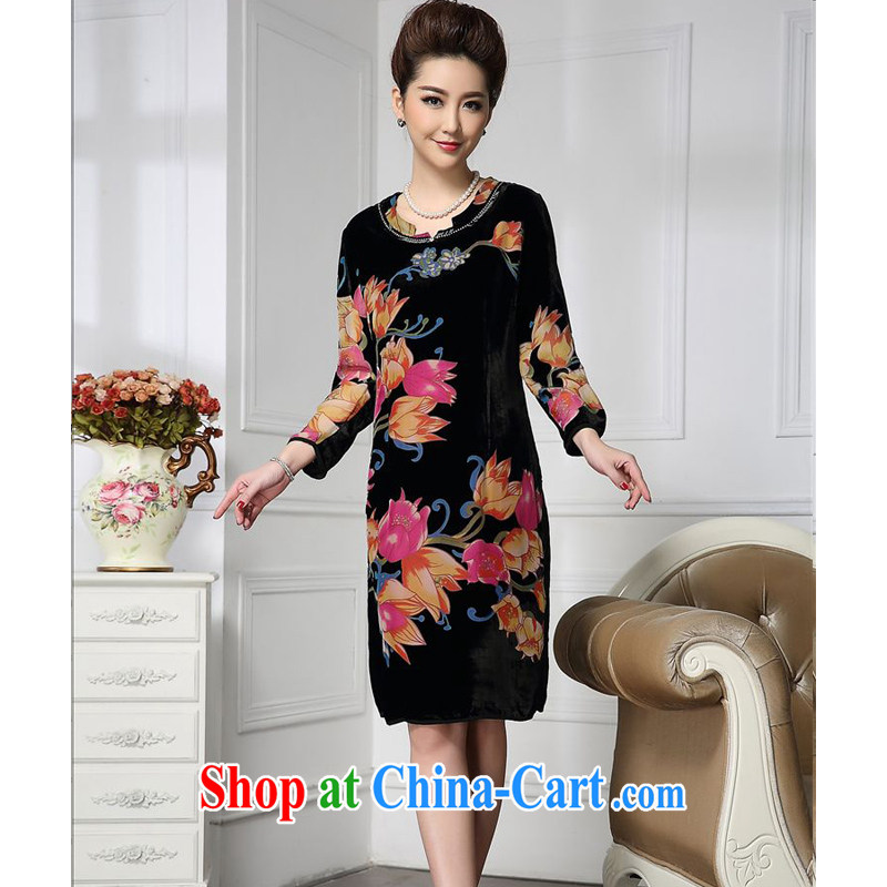 Forest narcissus spring 2015 the new fashion, long-neck manually staple Pearl suit more comfortable silk stitching velvet dress HGL - 675 orange pink flower XXXXL