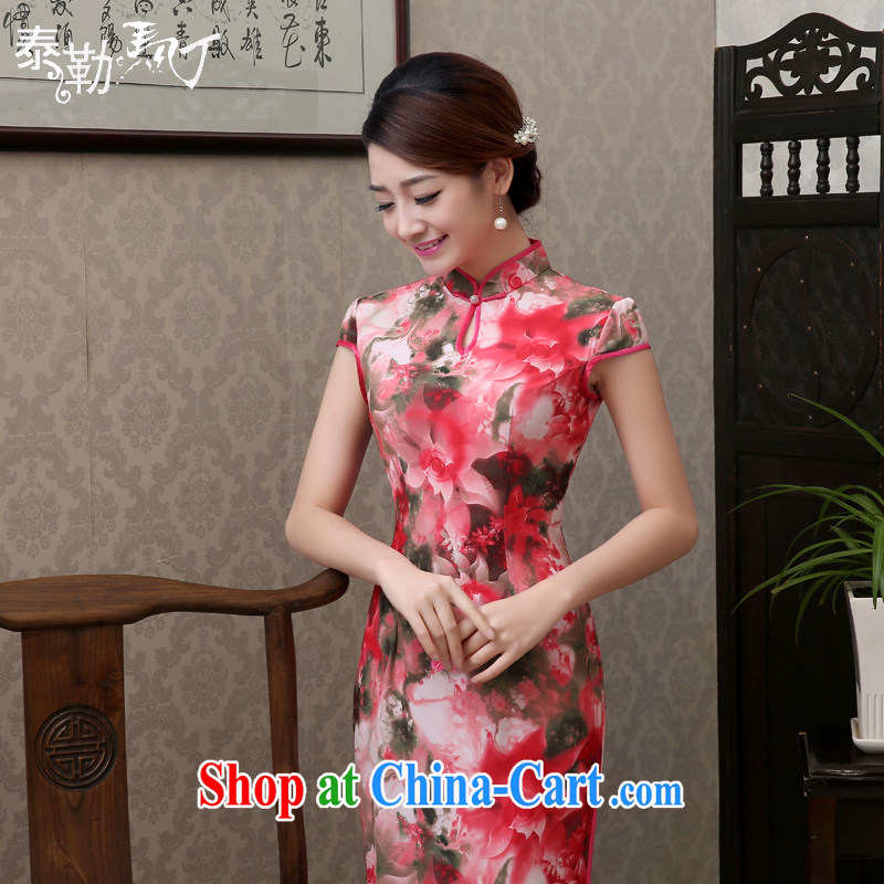 Martin Taylor 2015 spring and summer new daily long cheongsam dress retro improved cultivation video thin cheongsam dress large bonuses dress red XXL