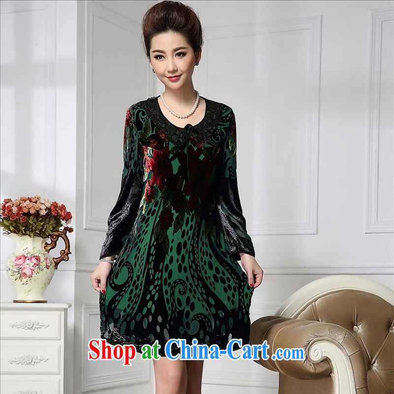 Forest narcissus spring 2015 the new fashion, long lace round-collar curl tread comfortable sauna silk stitching velvet dress HGL - 672 dark green XXXXL