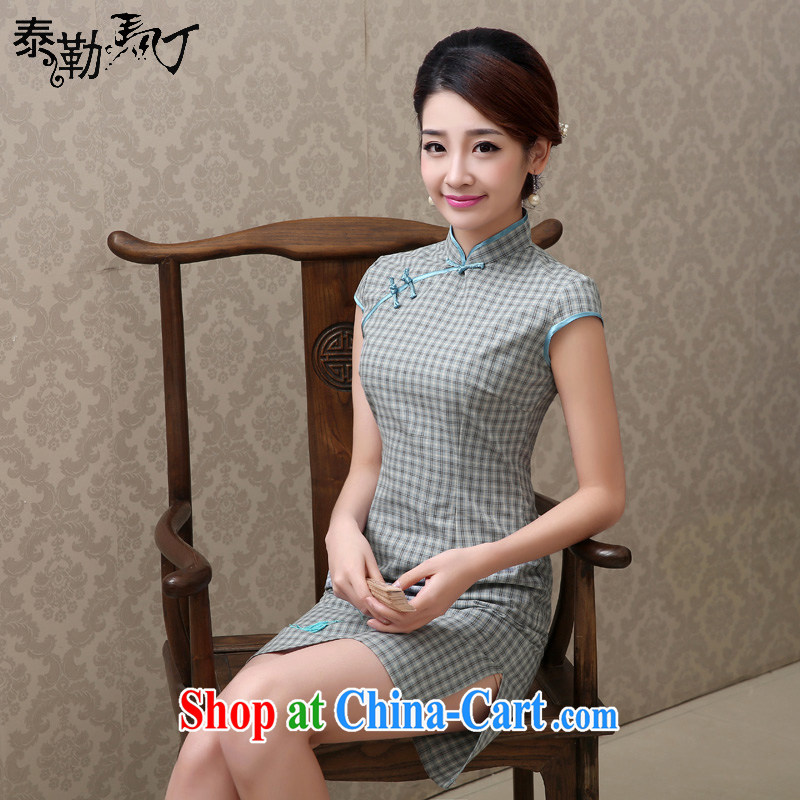 Martin Taylor 2015 spring and summer new tartan cotton the daily goods short retro Korea video thin cheongsam dress two-color light gray grid S
