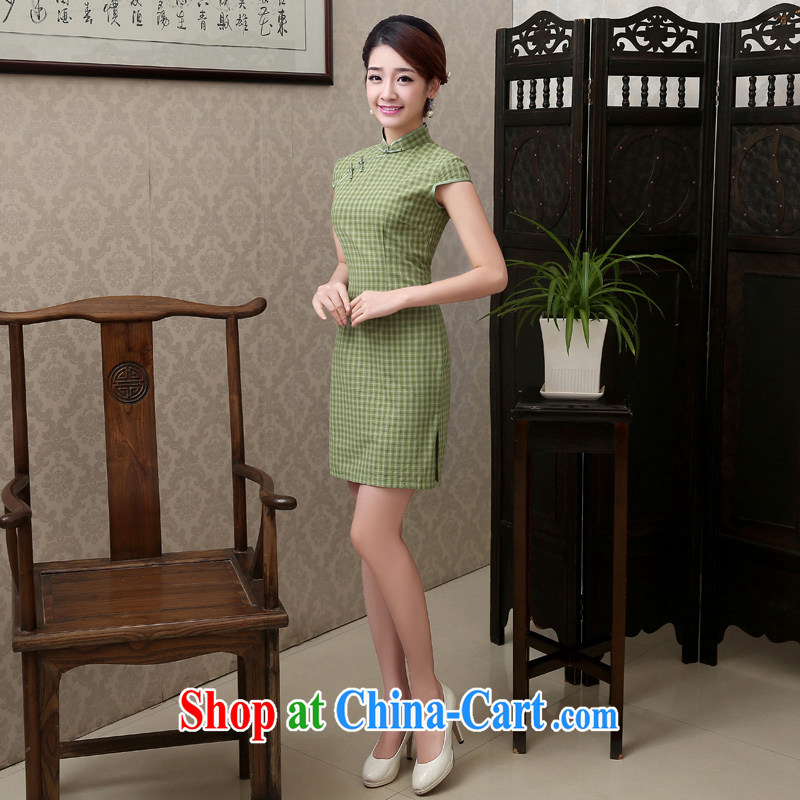 Martin Taylor 2015 spring and summer new tartan cotton the daily goods short retro Korea video thin cheongsam dress two-color light gray grid S, Taylor Martin (TAILEMARTIN), shopping on the Internet