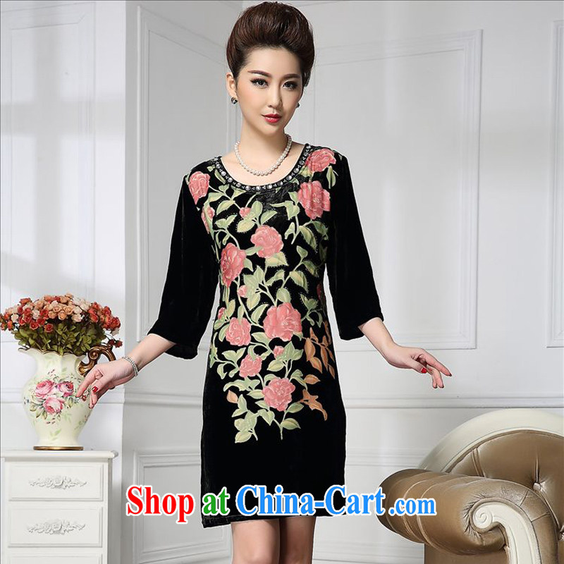 Forest narcissus Spring and Autumn 2015 the new stylish manually staple Pearl roses in the tread long sauna silk stitching velvet dress HGL - 669 pink XXXXL