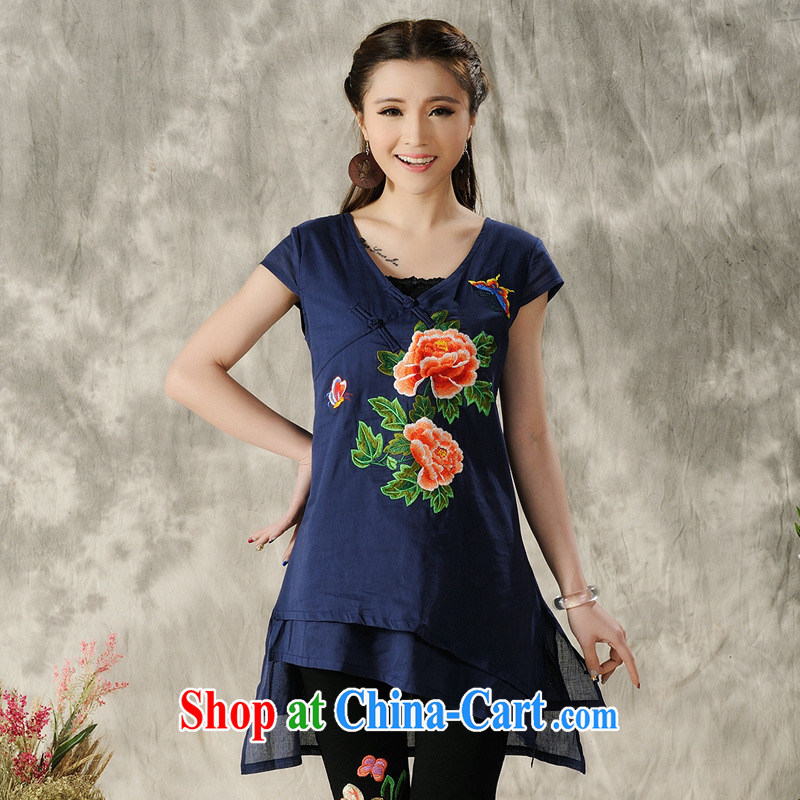 Black Butterfly Spring and Summer new Ethnic Wind women Peony embroidery, long-tie cotton Ma T-shirt T pension 8296 photo color L
