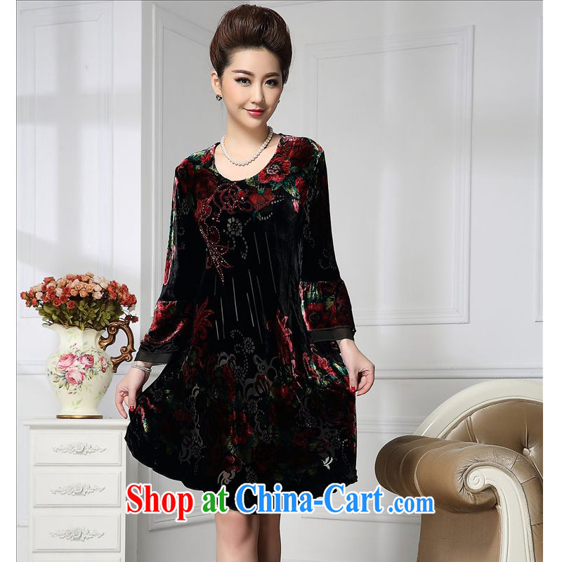 Forest narcissus spring 2015 the new stylish Palace wide sleeves manually staple Pearl flower, long sauna silk stitching velvet dress HGL - 666 wine red XXXXL