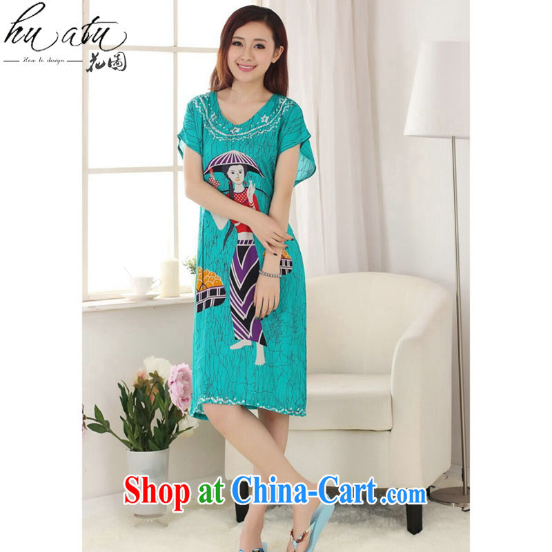 Take the Tang Women's clothes summer new short-sleeved dresses hand-painted female pajamas pure cotton loose-bathrobe girl - A green are code
