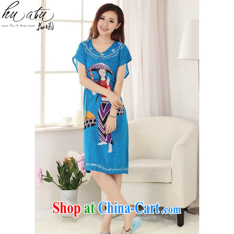 Dan smoke Tang Women's clothes summer new short-sleeved dresses hand-painted female pajamas pure cotton loose-bathrobe girl - C blue lake are code