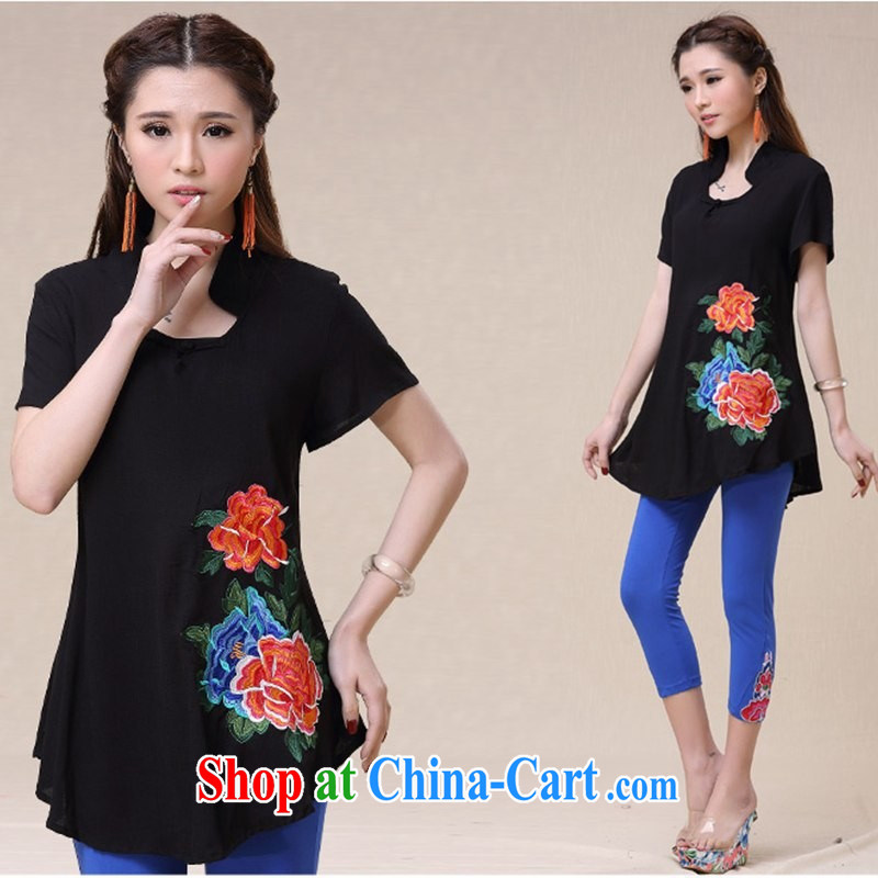 Black butterfly women 2015 spring and summer new ethnic wind embroidery, long, short-sleeved cotton Ma T pension 9559 black XXL