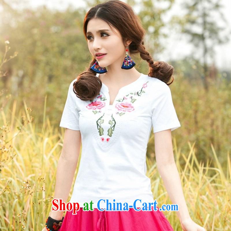 Black butterfly larger female new ethnic wind women V collar short-sleeved embroidered T-shirt, T-shirt 7885 white 3XL