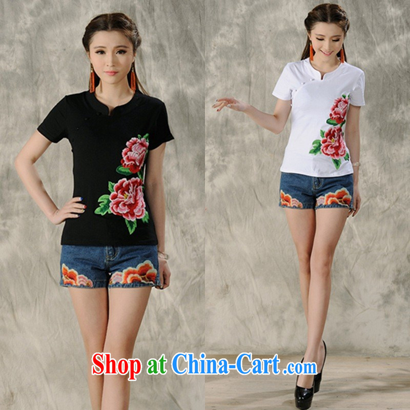 Black butterfly ladies' spring and summer new ethnic wind embroidered retro, short-sleeved shirt T female A 486 blue 4 XL