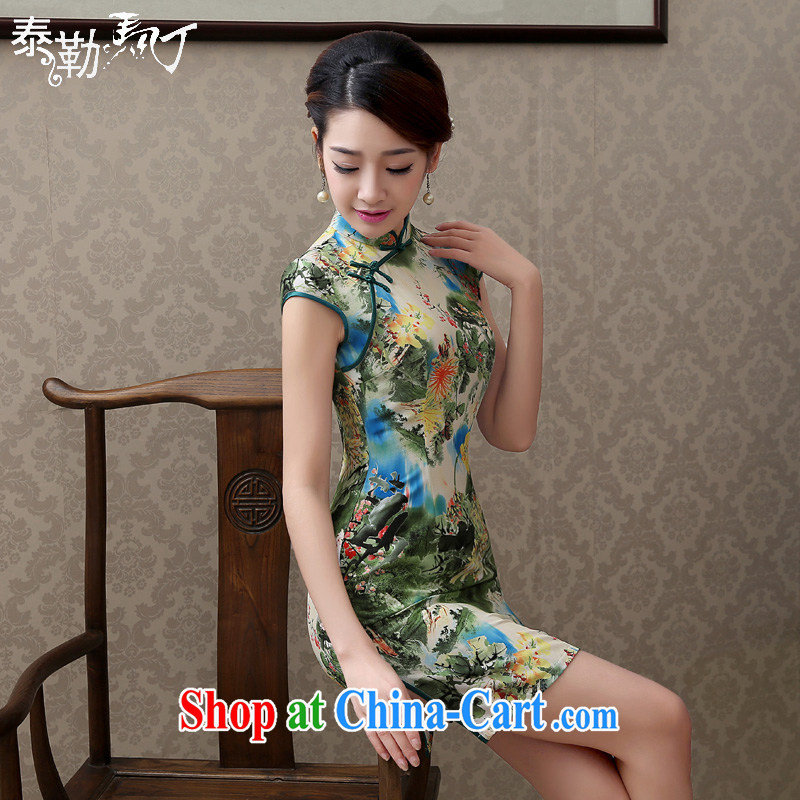 2015 stamp duty Ethnic Wind summer dresses and female daily load improved the waist graphics thin cheongsam dress elegance green XXL