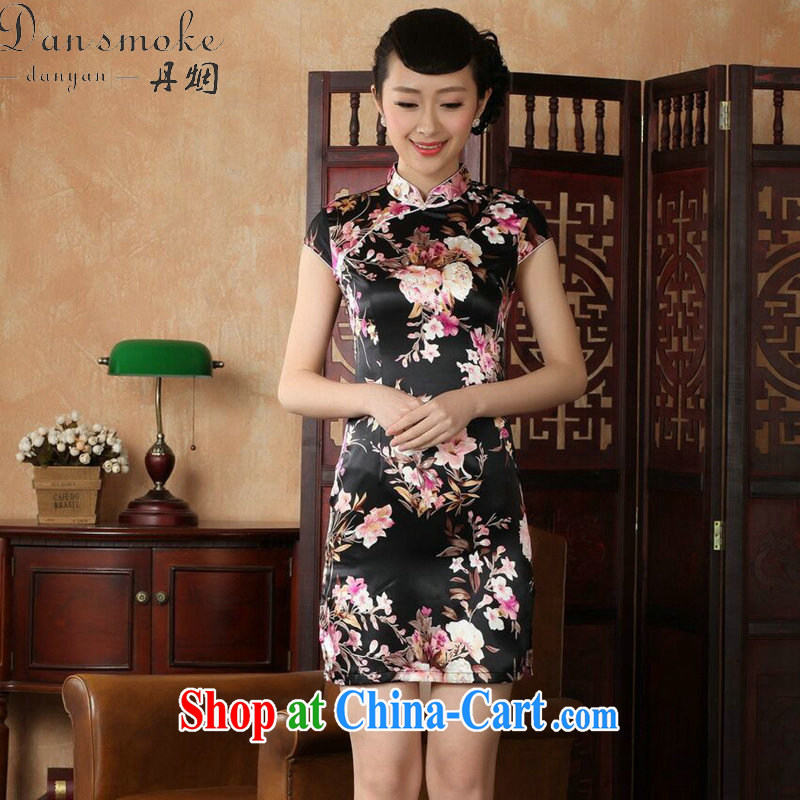 Dan smoke female summer, new Chinese qipao Chinese improved, for a tight stamp mini retro short-sleeved short cheongsam black 2 XL