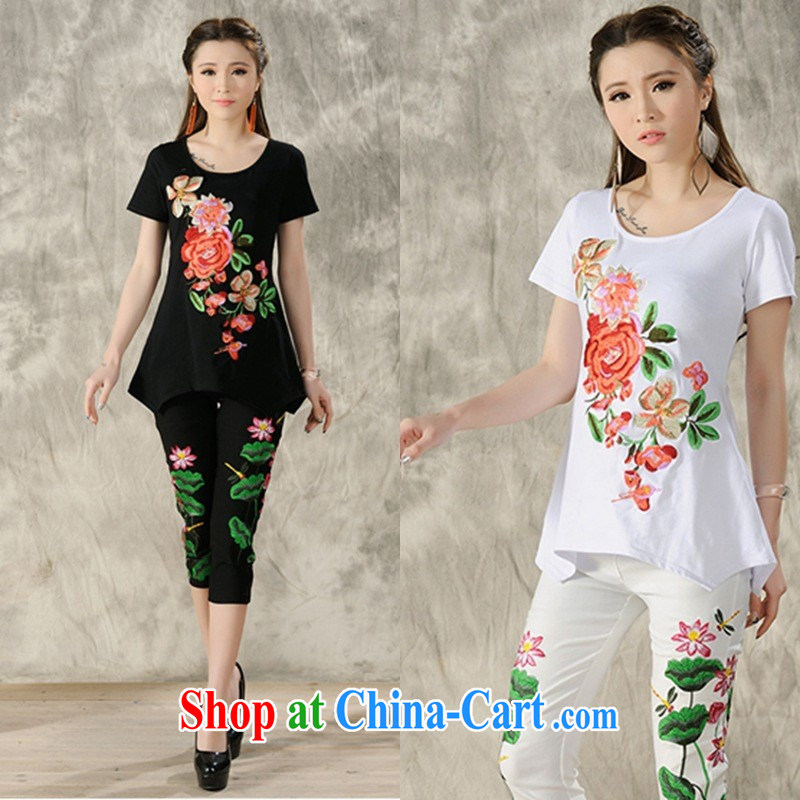 Black butterfly women 2015 spring and summer new ethnic wind embroidered cultivating short-sleeved shirt T female A 487 black 3 XL
