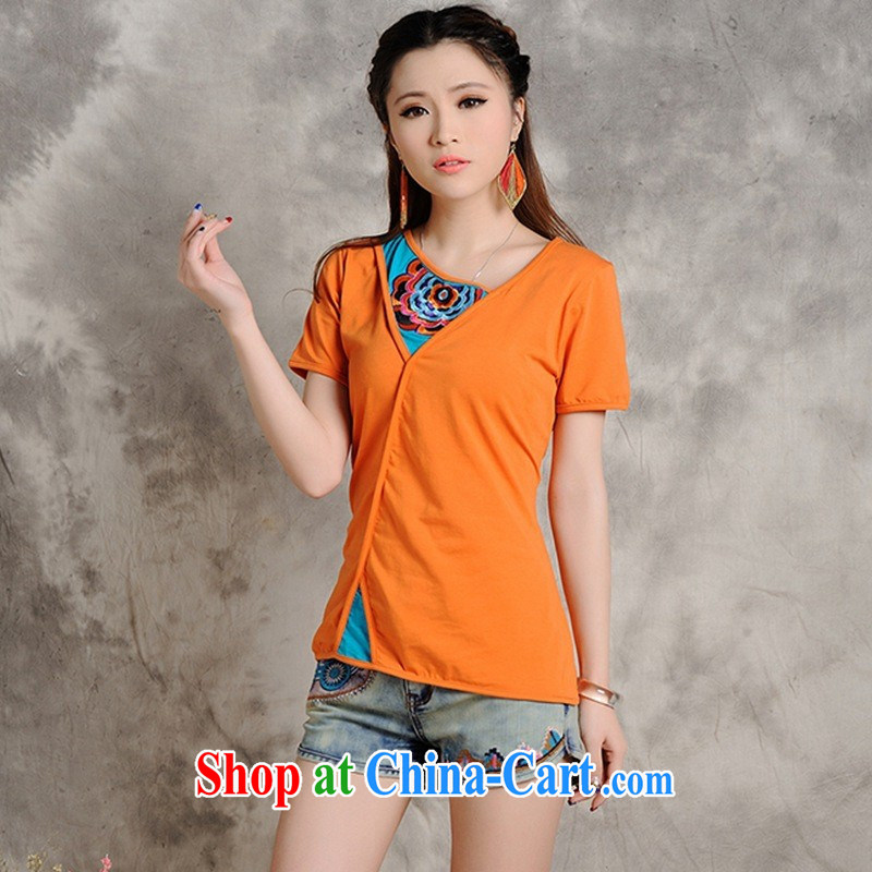 Black Butterfly Spring and Summer new female Ethnic Wind embroidered cultivating short-sleeved shirt T women 9218 orange 2 XL