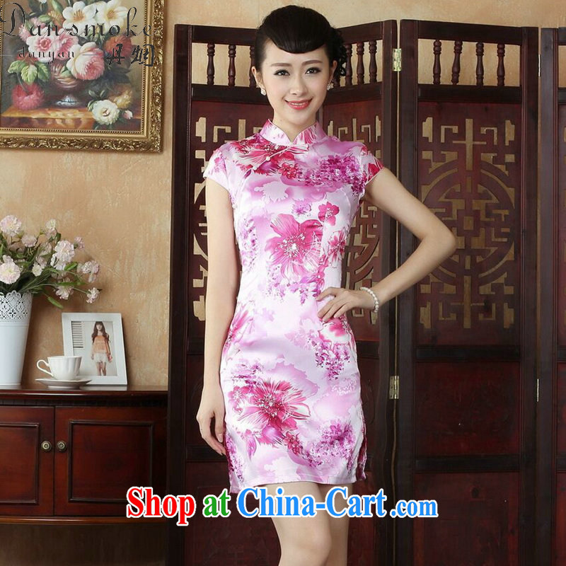 Bin Laden smoke Chinese qipao summer Chinese qipao retro improved, for a tight stamp female mini-short dresses such as the color XL