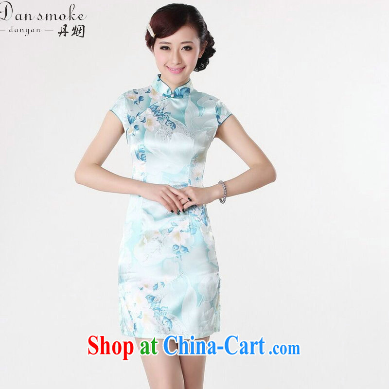 Dan smoke new cheongsam dress summer improved retro, for a tight silk hand-painted Chinese improved cheongsam dress short light blue M