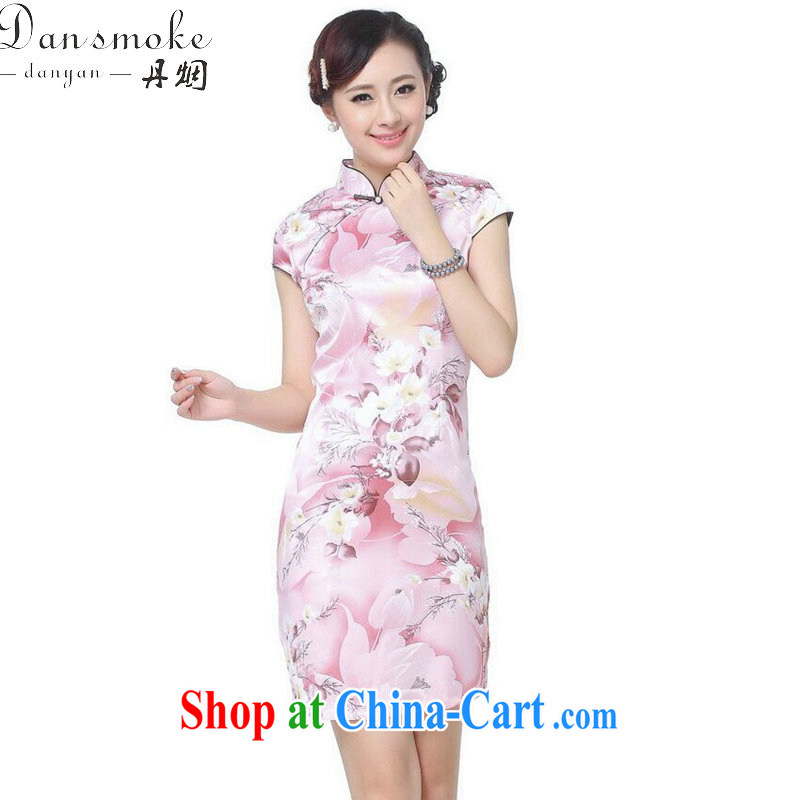 Dan smoke female summer, new Chinese qipao Chinese improved, for retro beauty is a hard stamp short cheongsam pink 2 XL, Bin Laden smoke, shopping on the Internet