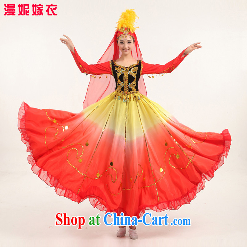 2015 new large skirt Xinjiang Dance India dance performances minority serving Uighur Dance Show Dance Clothing _ dance performances dress uniform red S