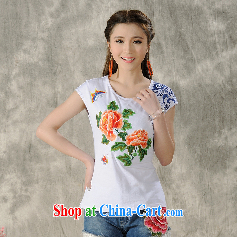 Black butterfly women 2015 spring and summer new ethnic wind embroidered short sleeves shirt T female A 495 white 2XL