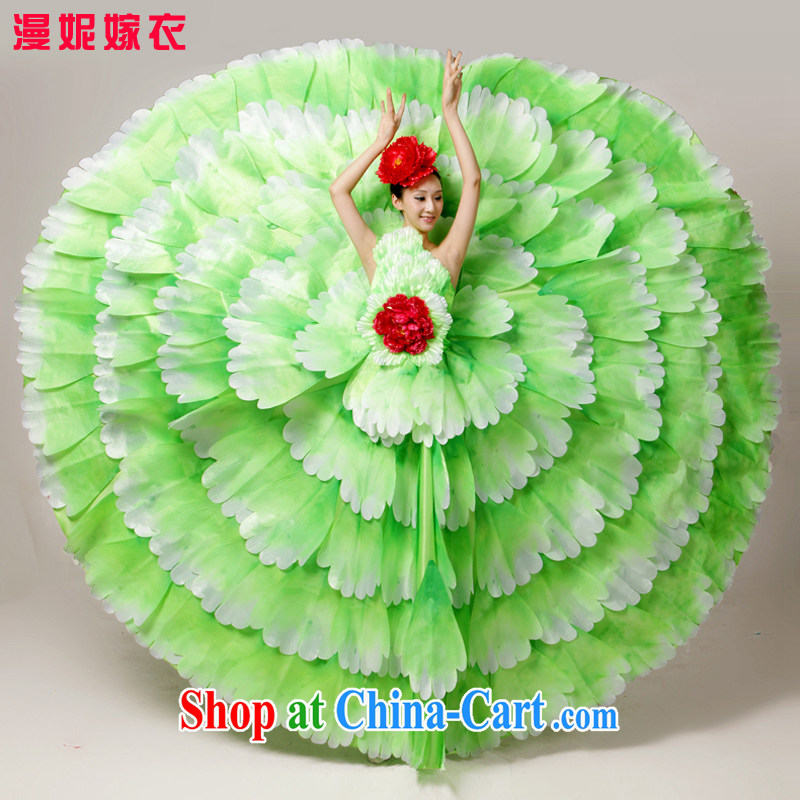 Standard atmospheric opening dance serving the dance clothing Spanish dance skirt long skirt dance clothing female classical dance theater service color Large skirt new performing arts clothing modern dance green XXL