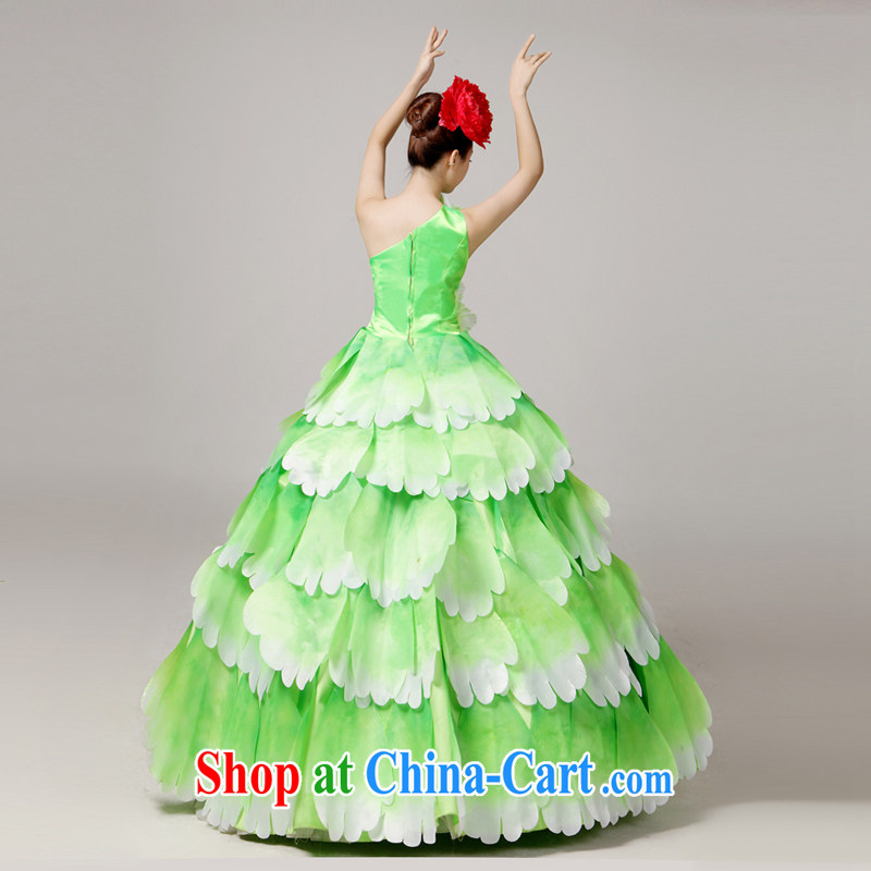 Standard atmospheric opening dance serving the dance clothing Spanish dance skirt long skirt dance clothing female classical dance theater service color Large skirt new performing arts clothing modern dance green XXL, diffuse Connie married Yi, and shoppi