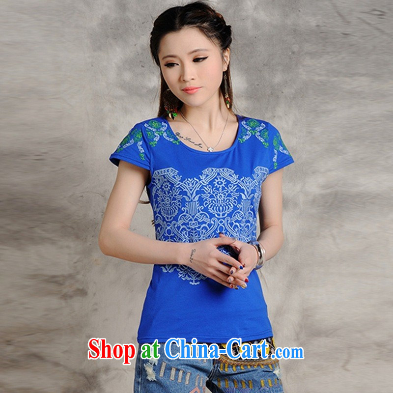 Black butterfly ladies' spring and summer new ethnic wind embroidered cultivating short-sleeve shirt T women 9216 blue 2 XL