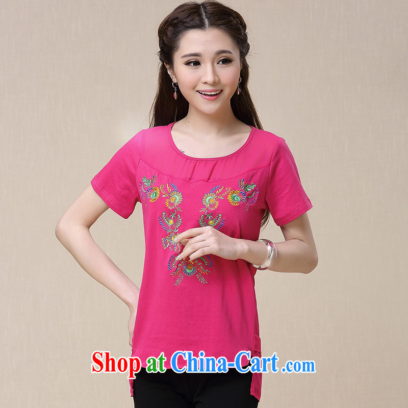 Black butterfly ladies' 2015 summer new ethnic wind embroidered short sleeve round neck shirt T women 9965 red 2 XL