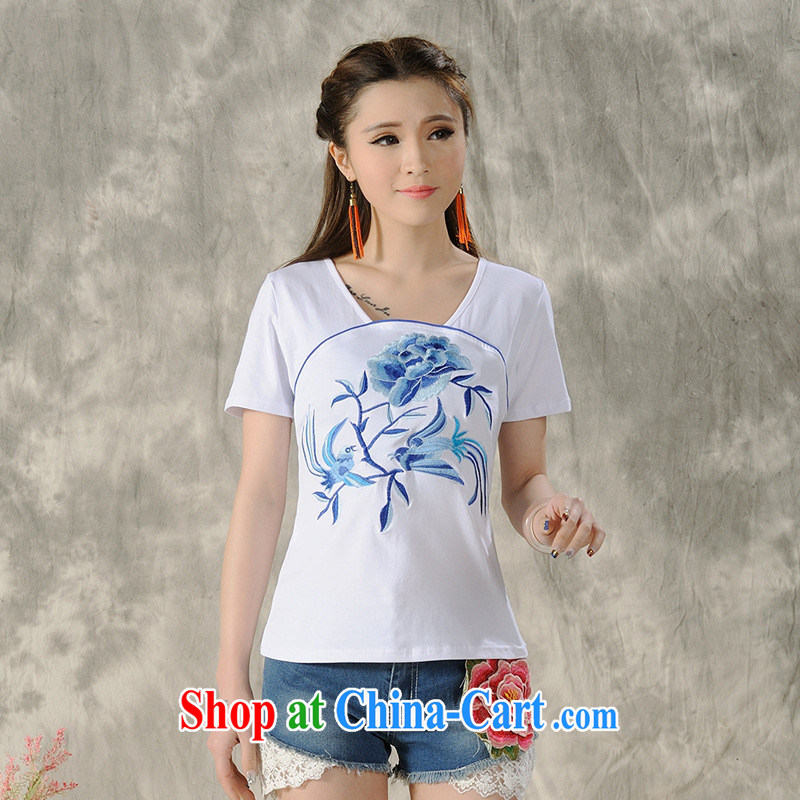 Black butterfly women 2015 spring and summer new ethnic wind embroidered blue short-sleeve shirt T female A 483 white 3XL