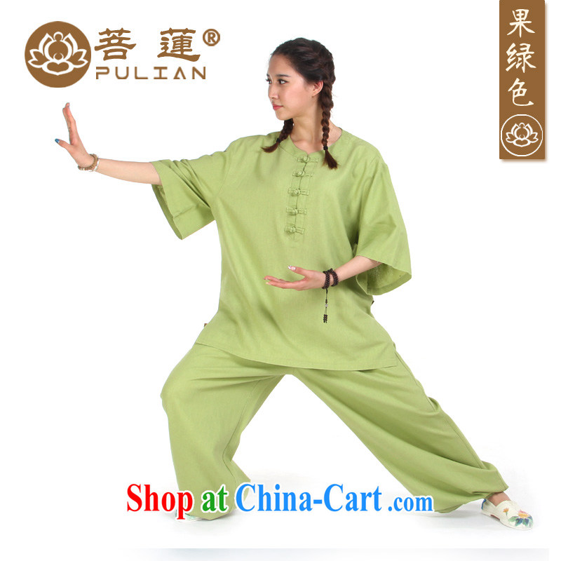 Special mechanisms Lin linen cotton Womens cotton in the Commission a short-sleeved summer and autumn Tai Chi clothing exercise clothing boxing clothing meditation yoga serving fruit Green S
