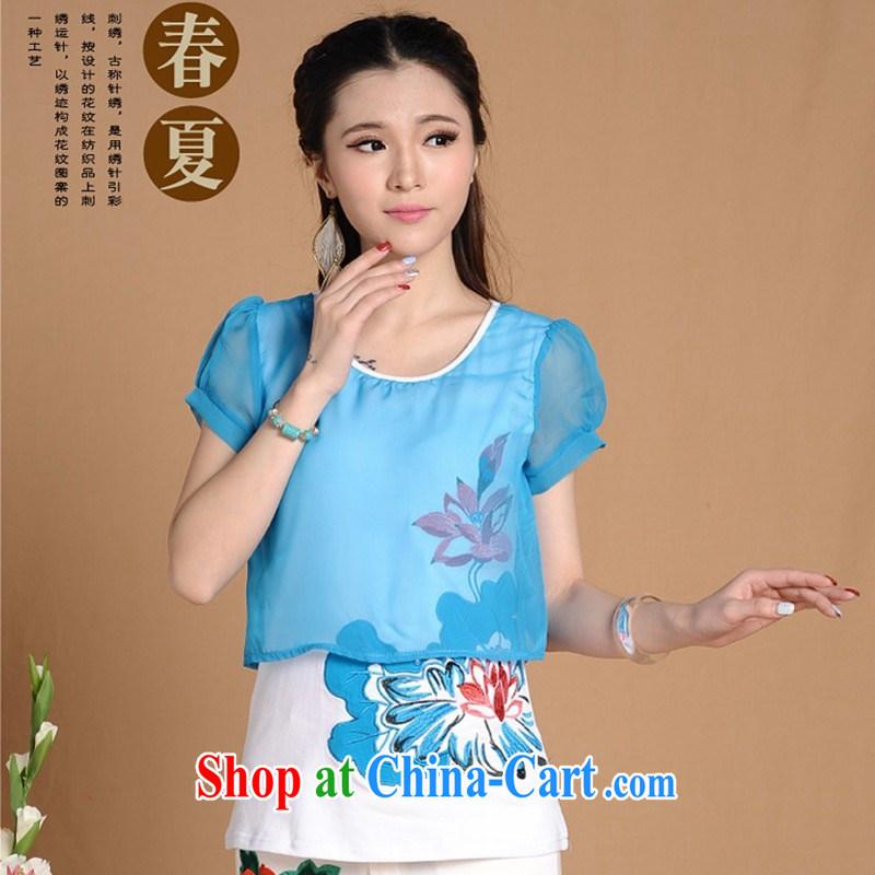 Black butterfly girls 2015 new spring and summer female ethnic wind embroidered leave of two short-sleeved shirt T girls cotton 6680 blue XXL