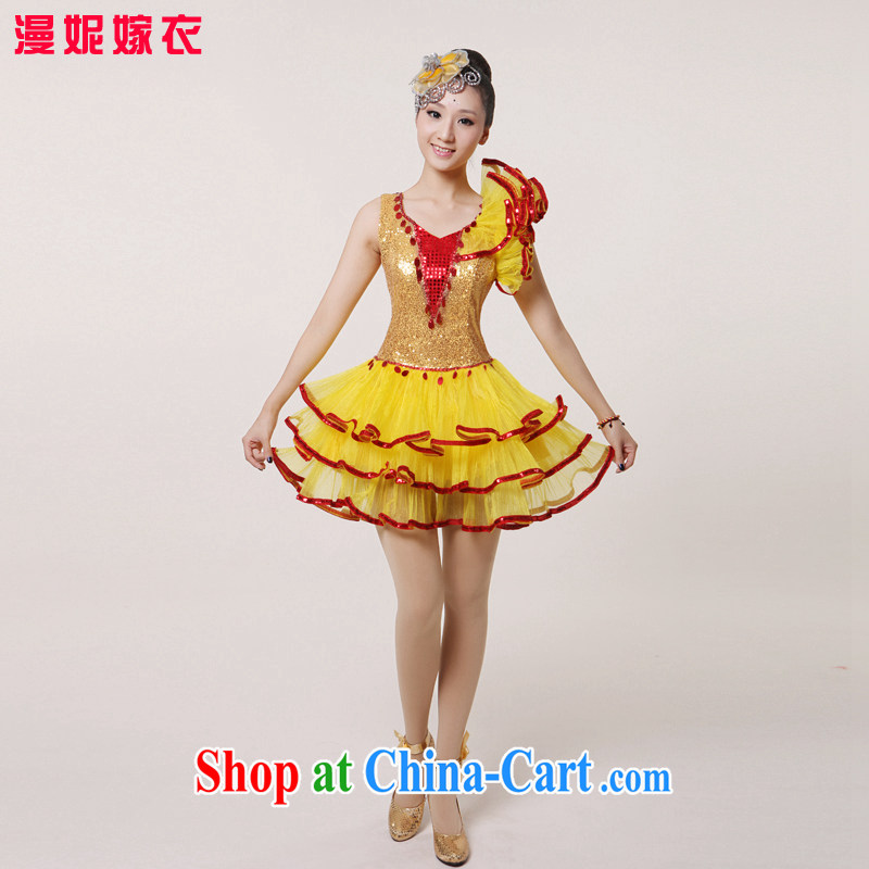 2015 new, modern dance Latin Dance Show Dance clothing Girls show their dance costumes yangko dance partner dance clothing blades as well as modern dance costume yellow XXL