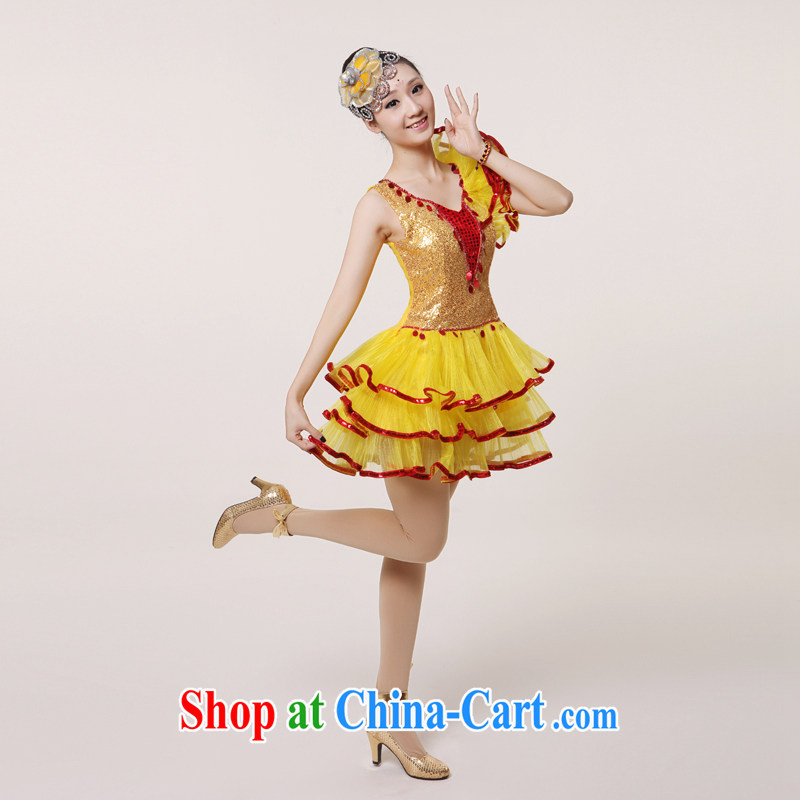2015 new, modern dance Latin Dance Show Dance clothing Girls show their dance costumes yangko dance partner dance clothing fan blades, as well as modern dance costume yellow XXL, diffuse Connie married clothing, and shopping on the Internet