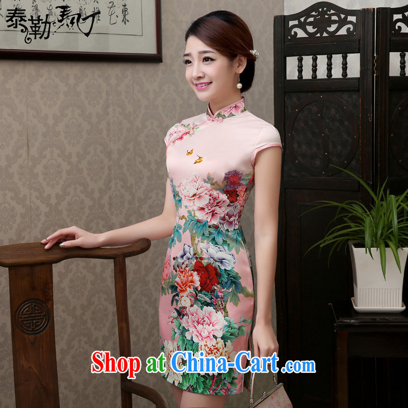 2015 new spring and summer flowers pink Silk Cheongsam short Daily Beauty package and graphics thin cheongsam dress with cool pink XL