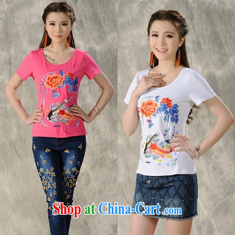 Black butterfly women 2015 spring and summer new ethnic wind embroidered short sleeves shirt T female A 603 white 4XL