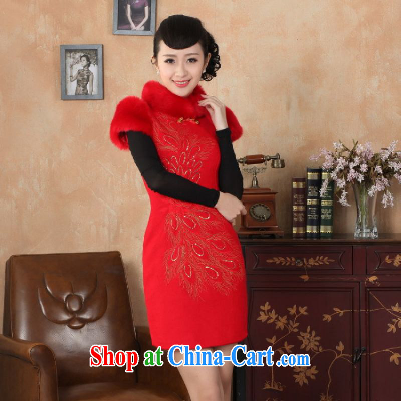 The frequency response, Ms. Tang cheongsam with autumn and winter clothes new retro improved wool? rabbit hair collar embroidery cheongsam red 2 XL