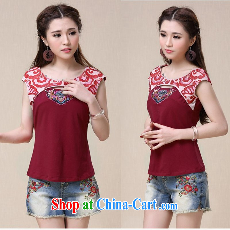 Black butterfly 2015 summer new ethnic wind women embroidered short sleeves round neck cotton T-shirt girls 9955 red 2 XL