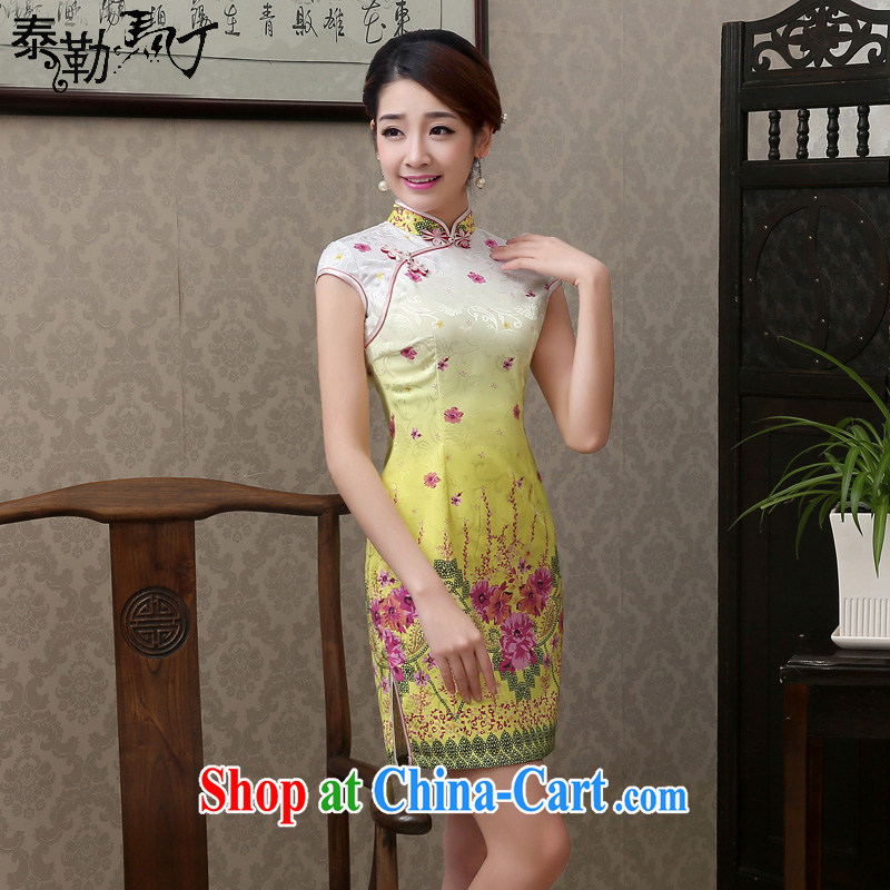 2015 spring and summer new large pale yellow flowers small fresh short cheongsam improved stylish beauty package and cheongsam dress elegant pale yellow flowers XXL