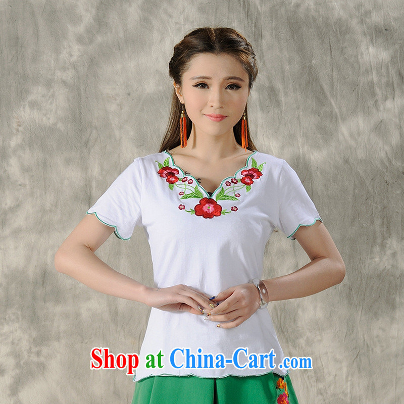 Black butterfly female new ethnic wind spring and summer ladies embroidered short sleeves shirt T female A 485 white 2XL