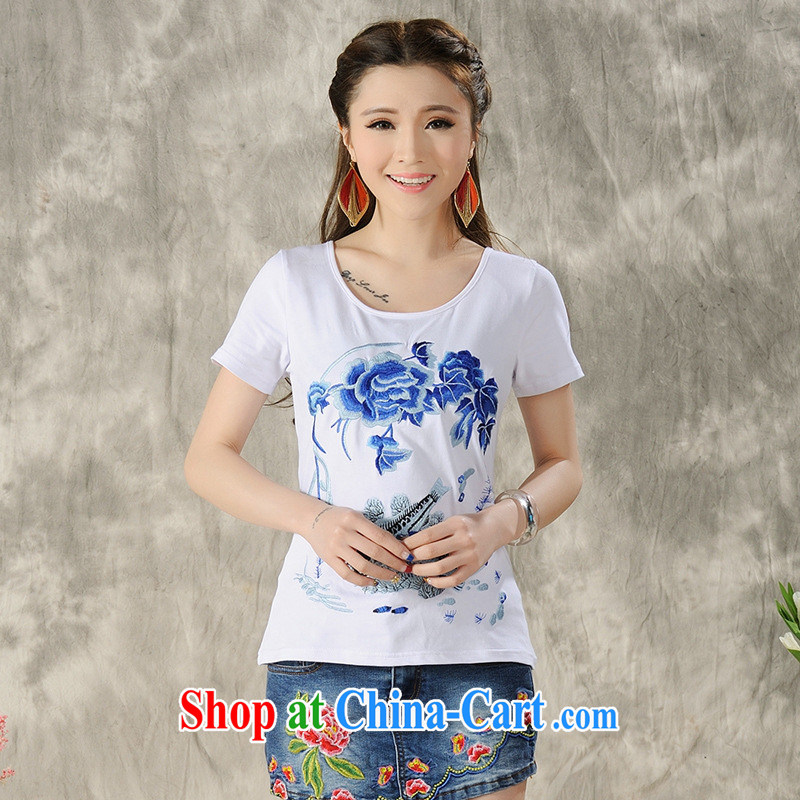 Black butterfly women 2015 spring and summer new ethnic wind embroidered short sleeves shirt T female A 605 white 4XL