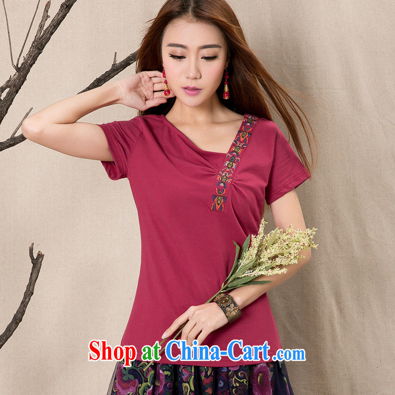 Black butterfly female Ethnic Wind summer new embroidered cotton cultivating wrinkled short-sleeve female T pension 914 wine red XXL